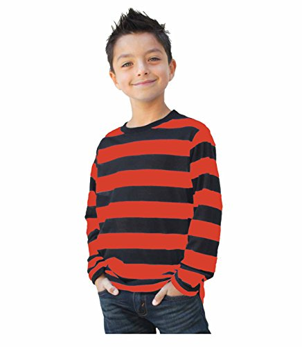 Child/Teen Long Sleeve Striped Shirt Black and Red (Large) ()