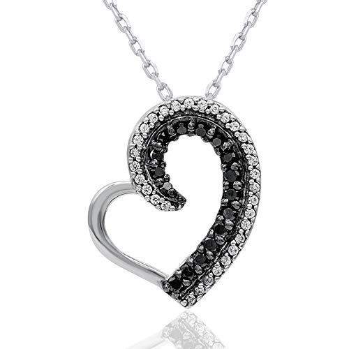 Heart Shaped Diamond Pendant Necklace - 1/6 Carat Natural Diamond Pendant Necklace 10K White Gold (HI Color, I2 Clarity) Black and White Diamond Heart Shaped Pendant Necklace for Women Diamond Jewelry Gifts for Women