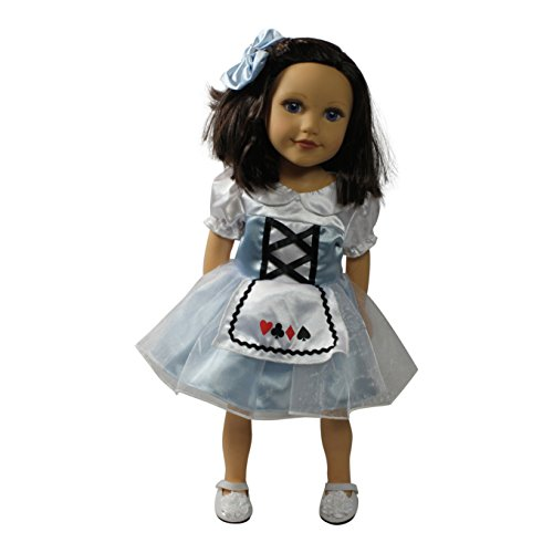 Alice In Wonderland Costume Bag (Arianna Alice in Wonderland Dress Hairbow Doll Costume Fits 18 inch American Doll Clothes)