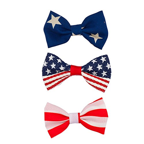 Lux Accessories July 4th Independence Day Patriotic Bow Pack (3PC) (4th Of July Hair Accessories)