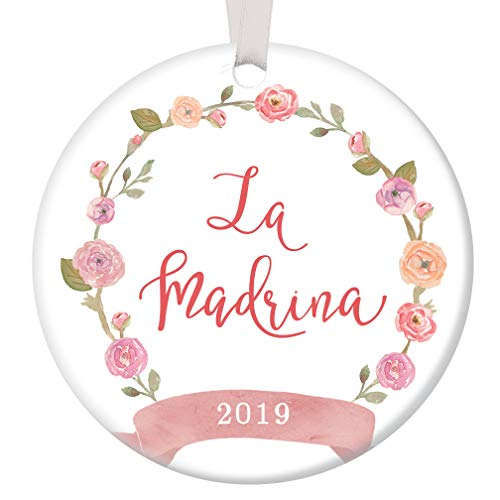 (La Madrina 2019 Christmas Ornament Spanish Godmother Baptism Sponsor Ceramic Keepsake Holiday Present for Special Aunt Female Family Friend 3