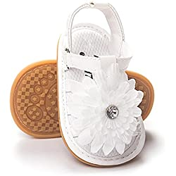 BENHERO Infant Baby Girls flower Anti-Slip Rubber Sole Prewalker Toddler Sandals (11cm(0-6Months), 2017 White)