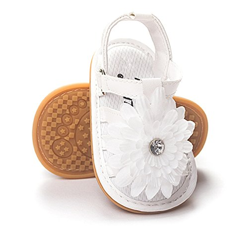 BENHERO Infant Baby Girls Flower Anti-Slip Rubber Sole Prewalker Toddler Sandals (13cm(12-18Months), A-White)