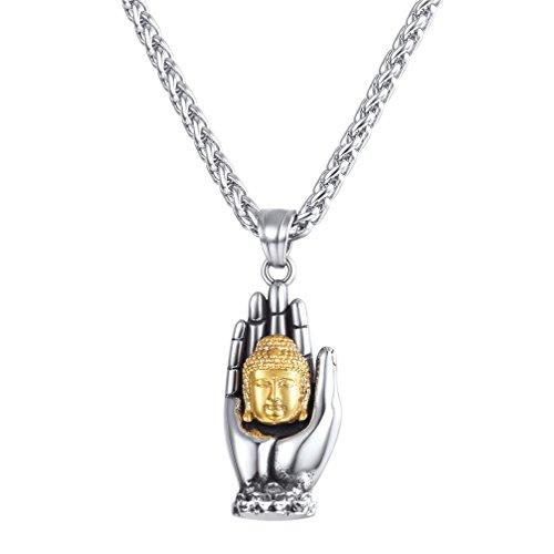 U7 Buddha Necklace Yogi Jewelry Stainless Steel Gotama Siddhattha Head & Praying Hand Pendant Necklace (Hand Of Buddha Jewelry)