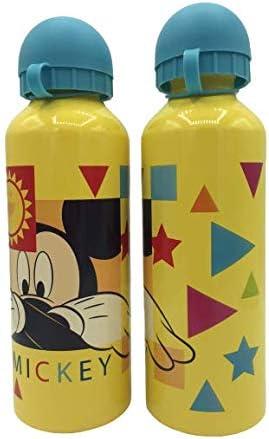ML Una Botella de Agua de Aluminio Mickey mause, cantimplora térmica a Prueba de Fugas sin BPA para Levar a la Escuela y Deportes el Termo 500ml para niños y niñas (Amarillo)