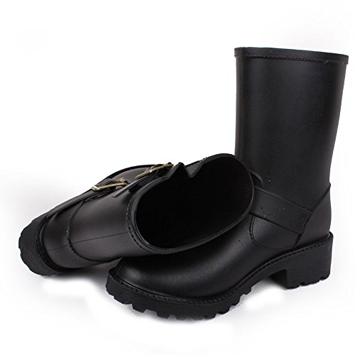 Womens and Kids Cute Waterproof Pull On Ankle Rain Boot No.338 Black eicA7