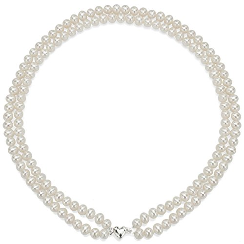 Heart Shape Sterling Silver 2-rows 6-6.5mm White Freshwater Cultured High Luster Pearl Necklace, 17'' by La Regis Jewelry