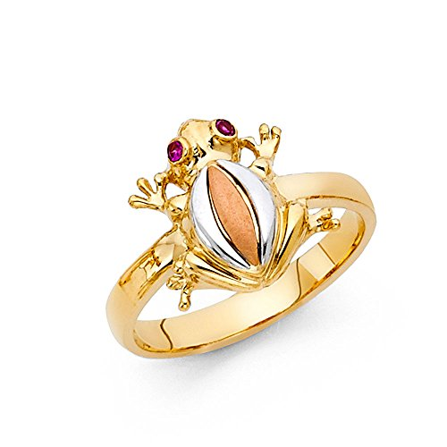 Tri-color 14K Solid Yellow Gold Magenta Cubic Zirconia Frog Ring, Size (14k Solid Yellow Gold Frog)