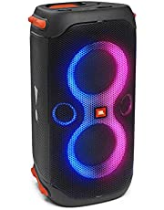 JBL PartyBox 110 Portable Party Speaker with 160W Powerful Sound, Built-in Lights, Up to 12 Hours of Playtime and IPX4 Splashproof Design - Black