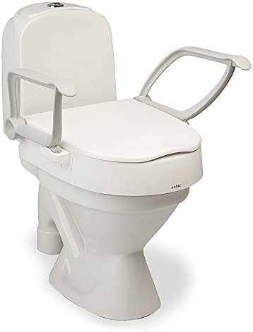 Etac Cloo Height Adjustable Raised Toilet Seat with Armrests, Seat Only Mobility and Bathroom Aid for Getting Up and Down from the Toilet, Toilet Riser with Handles