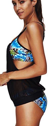 EmilyLe Mujer Moda Multicolor Traje de baño Conjunto de bikini Hojas azules