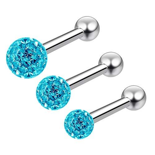 3pc 16g Triple Forward Helix Piercing Barbell Studs Crystal Sparkly Glitter Ball Aquamarine 6mm 1/4 -