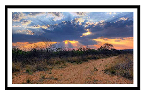 Black Solid Wood Large Frame 10X13 South Africa Namibia Sunset Landscape Clouds Desert Photo Frame Wall Decor Picture Large Frame Gallery Collage Wall Hanging System - Wall Mounting Design