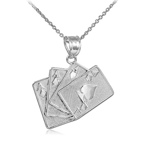 10k White Gold Playing Cards Good Luck Charm Four of a Kind Pendant Necklace, 22'' by Sports Charms