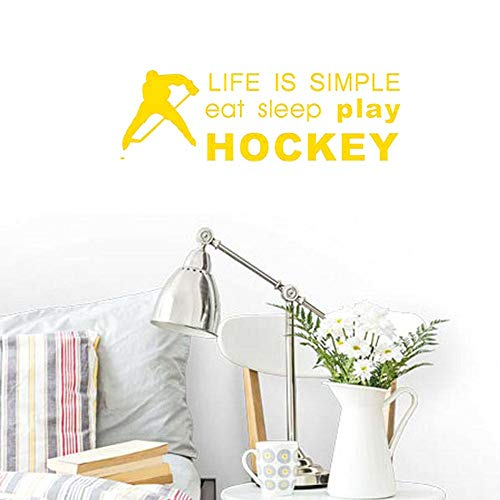 BIBITIME Life is Simple eat Sleep Play Hockey Signs Sayings Quotes Hockey Ball Athlete Silhouette Vinyl Sticker Sport Wall Decal for Fans Teens Boys Bedroom Nursery (Yellow, DIY 7.08