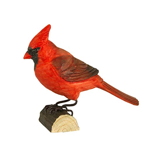 Wildlife Garden Northern Cardinal DecoBird, Hand-Carved Wood Replica for Indoor or Outdoor Use, Artisanal Life-Like Figurine Designed in Sweden