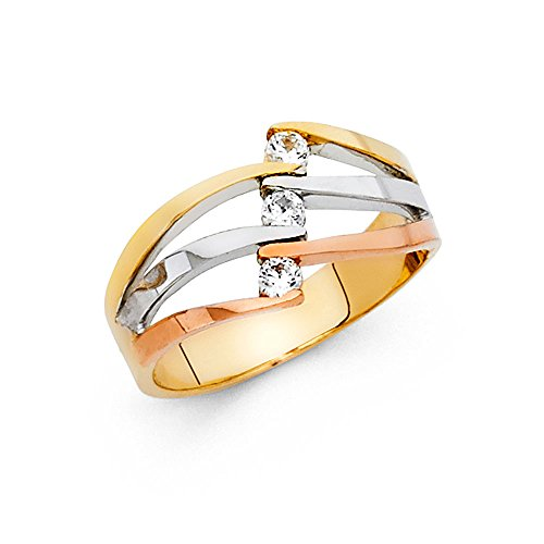 CZ Semanario Ring Solid 14k Ye