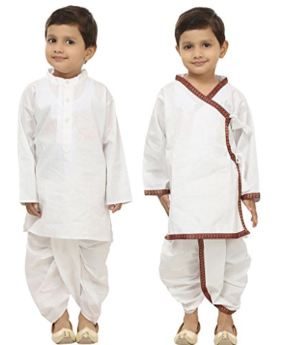 Focil Diwali Special Combo of White Solid & White Mehroon Border Dhoti Kurta set For Kids (Pack of 2) by FOCIL