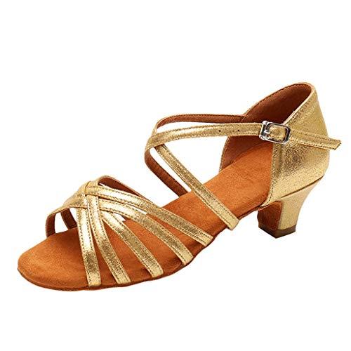 WENSY Women Casual Latin Tango Dance Shoes Dance Shoes Practice Shoes Princess Shoes Solid Color Single Shoes Sandals(Gold,39)