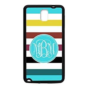 iFUOFF Amazing Bright Rainbow Stripes and Blue Monograms Customized Protective Snap On Fashion Case for Samsung N9100 GALAXY Note4 (Black or White 2 Colors)