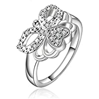 Voberry® Plating Silver Ring Fine Fashion New Women Butterfly Crystal Jewelry Finger Rings