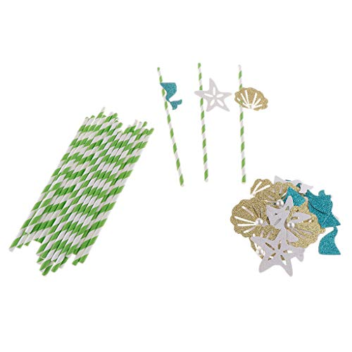 (Prettyia Pack of 24 Sea Theme Biodegradable Paper Straws for Juices Smoothies - Glitter Seashell/Starfish/Mermaid)