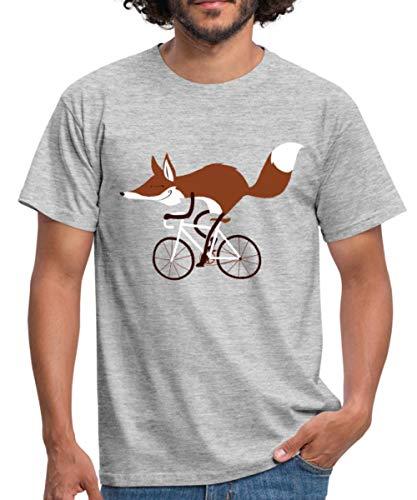 Spreadshirt Fox On Racing Bicycle Men's T-Shirt