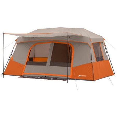 11 Person Instant Cabin with Private Room and 16 tent stakes included, made of steel in Orange (Ozark Trail 16 X 16 Cabin Tent)