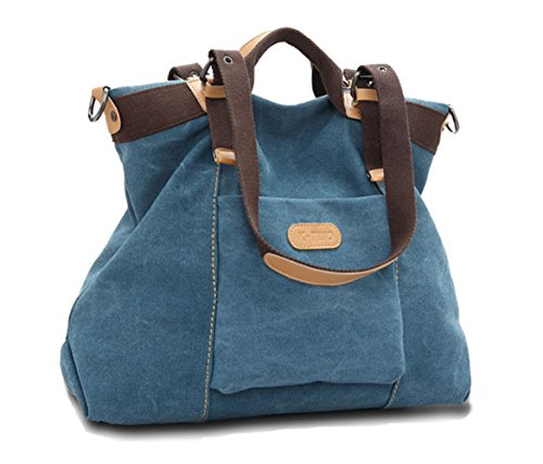 Casual Hobo Handbags (WLE Women Shoulder bags Casual Vintage Hobo Canvas Handbags Top Handle Tote Crossbody Shopping Bags.(Blue))