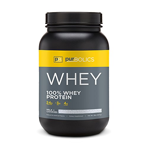 Purbolics Protein | 100% Whey Protein | Establish Lean Muscle & Improve Recovery | 24g Protein | 28 Servings (Milk + Cookies)