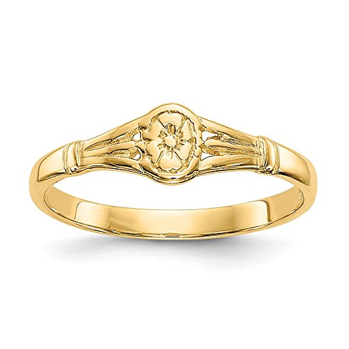 14k Yellow Gold Oval Baby Band Ring Size 2.25 Fine Jewelry Gifts For Women For - Ring Gold Childrens Signet Yellow