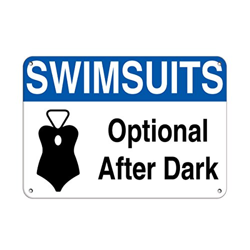 Swimsuits Optional After Dark Activity Sign Pool Signs Vinyl Sticker Decal 8