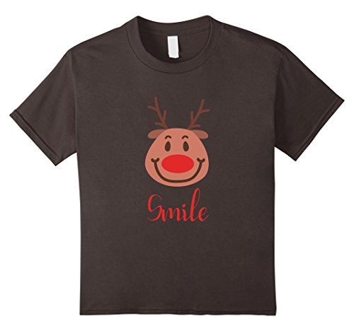 [Kids Reindeer Costume Smiling Face T Shirt Funny Gifts Cute Tee 10 Asphalt] (Child Ride A Reindeer Costumes)