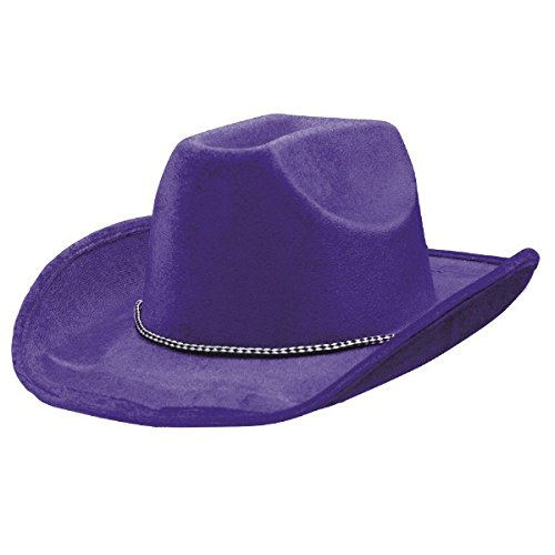 Amscan (AMSDD Party Ready Team Spirit Velour Cowboy Hat Accessory, Purple, Fabric , 5