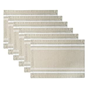 DII 100% Cotton, Machine Washable, Everyday French Stripe Placemat For Dinner Parties, Summer & Outdoor Picnics, Set of 6 - White