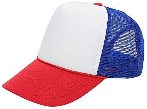 - QML Trucker Cap Mesh Hat with Solid, Two Tone Colors and Adjustable Snapback Strap and Small Braid (2 Tone, White/RED/Royal Blue)