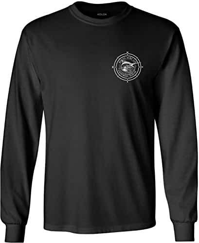 Koloa Surf Long Sleeve Black Marlin Cotton T-Shirts. Regular, Big & Tall