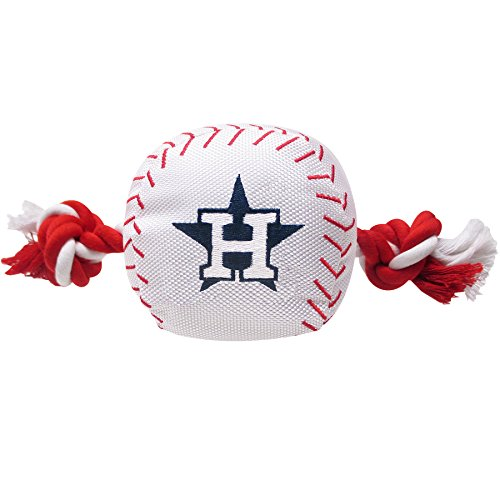 MLB HOUSTON ASTROS Baseball Rope Toy for DOGS & CATS. Tough nylon, Sporty Baseball Design, Heavy-duty ropes with Inner SQUEAKER