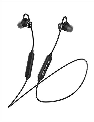 DOORIYA Bluetooth headphones, M1 Wireless Sports Earphones,IPX5 Waterproof HD Stereo Sweatproof Earbuds for Gym Running Workout 8+Hours Battery Noise Cancelling Headsets (Black)