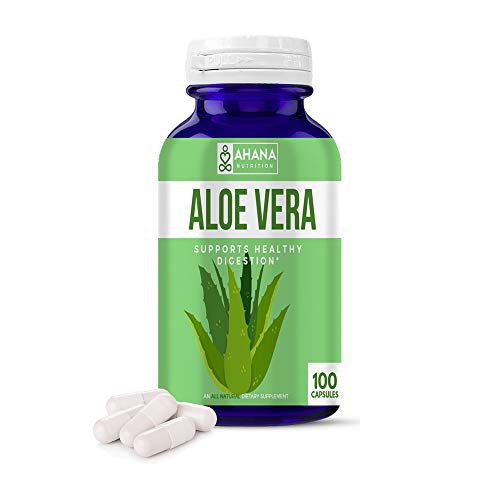 Aloe Vera Capsules by Ahana Nutrition - Pure Aloe Vera Extract Pills to Blood Sugar Support, Digestive Support & Serve As an Anti-Inflammatory (450mg - 100 Easy to Swallow Capsules)