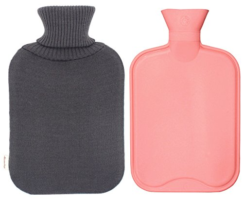 Premium Classic Rubber Hot Water Bottle and Star Print Knit Cover (2L, Dark Gray) by HomeTop (Image #1)