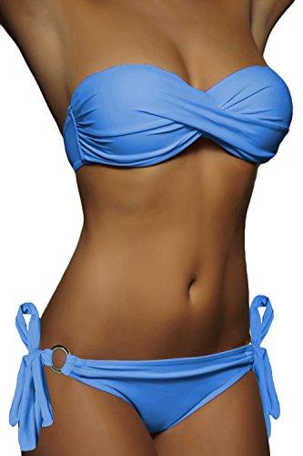 a Costume up bagno fascia Donna Top da 20019 Push Front Bikini Twist Push Up Set Blue Strips Alzata qZ7awvn1x