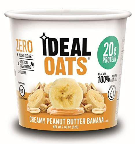 Ideal Oats Gluten Free Protein Oatmeal To-Go, Creamy Peanut Butter Banana (6 Pack) - 20g Protein, No Added Sugar