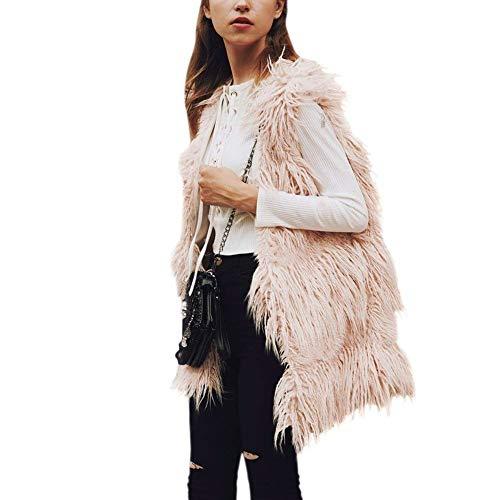 Rosa Mujer Abrigo Fashion Chaqueta De Sólido Sin Elegantes Piel Moderno Sintética  Chaleco Termica Talla cuello Color Mangas Basicas Invierno ... 600bb988ca2b
