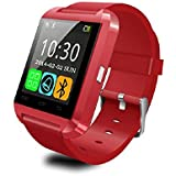Alike U8 Bluetooth Smartwatch with Camera, Touch Screen for IOS and Android, Red