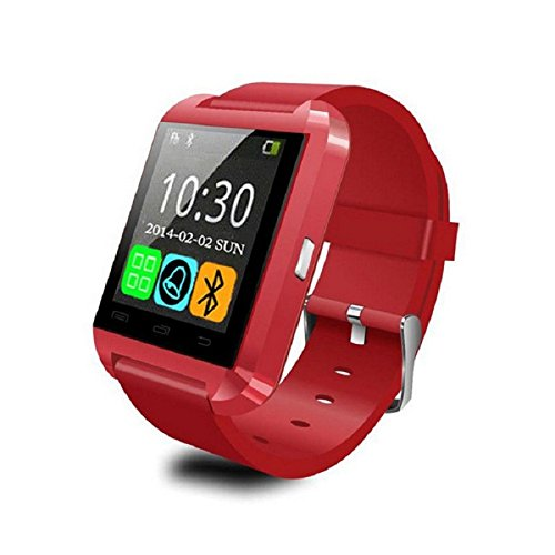 (Alike U8 Bluetooth Smartwatch with Camera, Touch Screen for IOS and Android, Red)