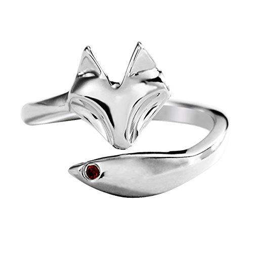 JEWME 925 Sterling Silver Women Fox Tail Rings Fine Jewelry Open Zirconia 7-8.5