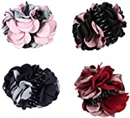 Lurrose 4Pcs Ribbon Hair Claws Large Claw Clamps Rose Flower Bow Jaw Hair Clip Barrette for Girls Women