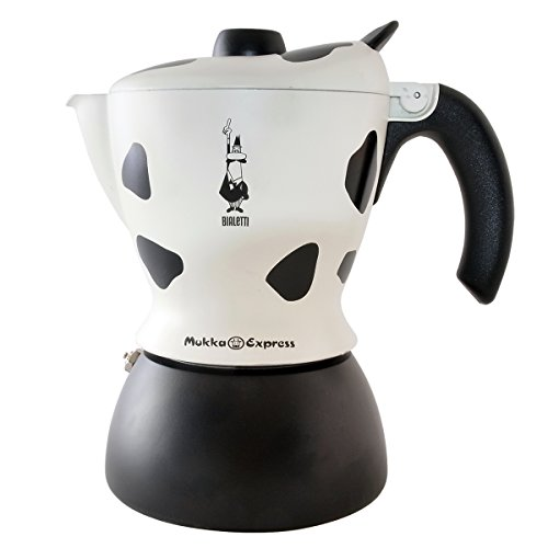 Bialetti Mukka Express 2-Cup Cow-Print Stovetop Cappuccino Maker, Black and White by Bialetti
