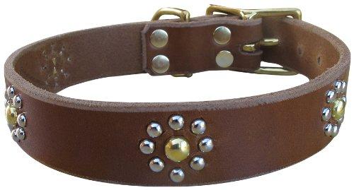"Paco Collars - ""Callie"" - Handmade Leather Medium Dog Collar - 1""Wide - Silver - Brown 16""-18"""